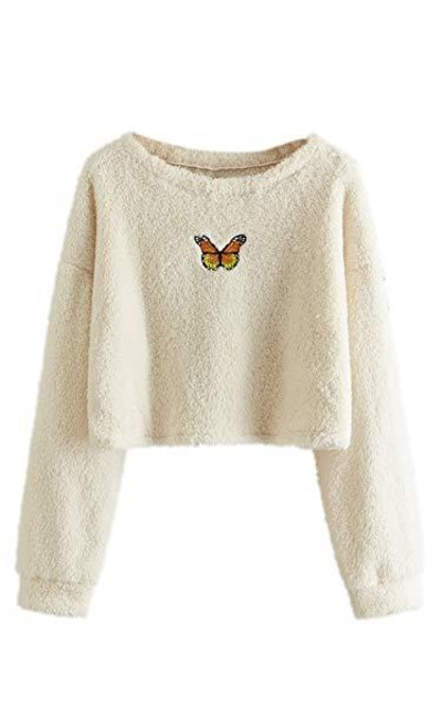 MAKEMECHIC Embroidered Cropped Teddy Sweatshirt
