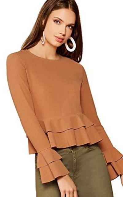SOLY HUX Layered Long Sleeve Ruffle Peplum Top