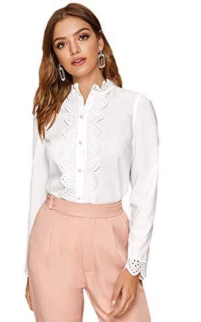 Verdusa Scallop Trim Eyelet Button Down Blouse Shirt