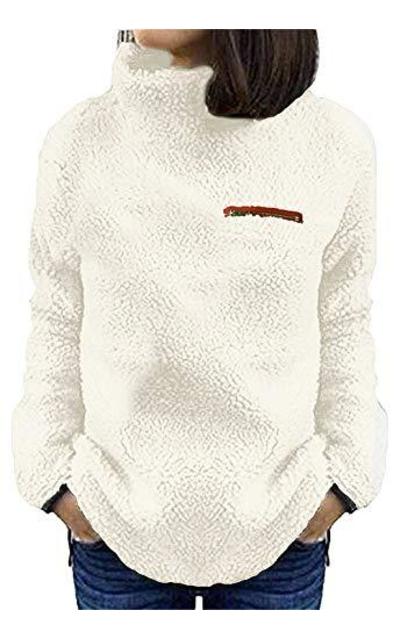 onlypuff White Sherpa Fuzzy Sweater