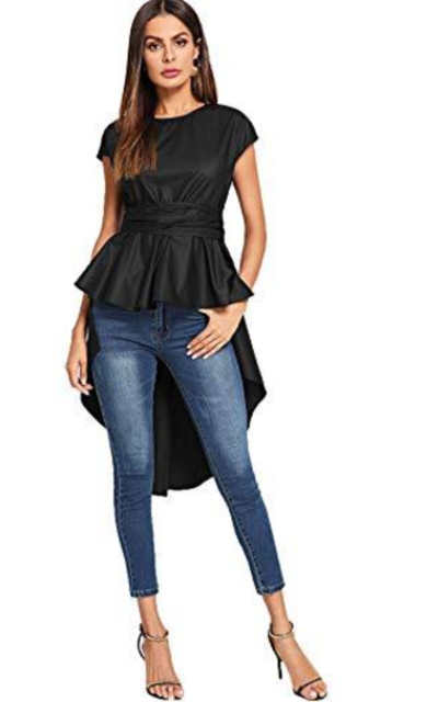 ROMWE Asymmetrical High Low Ruffle Blouse Top