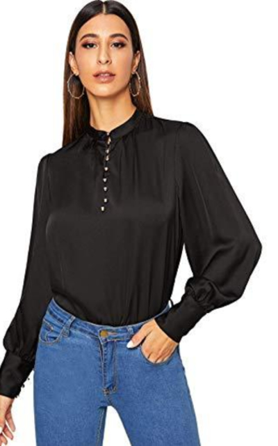 ROMWE Mock Neck Blouse Top