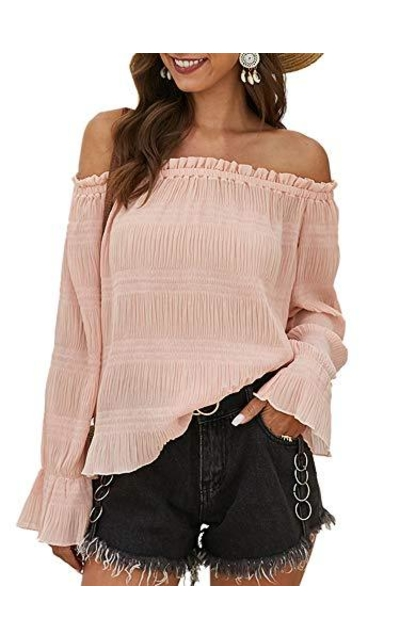 Angashion Tops - Off Shoulder Flare Blouse