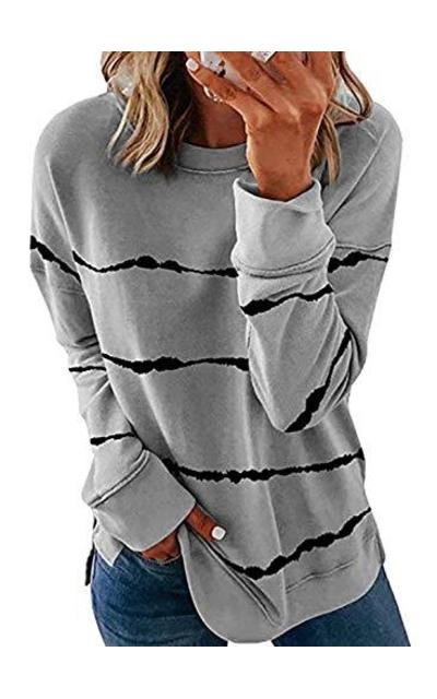 Biucly Crewneck Tie Dye Sweatshirt