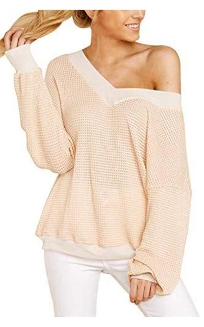 COCOLEGGINGS V Neck Long Sleeve Waffle Knit Off Shoulder Top