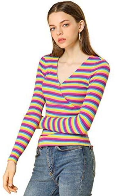 Allegra K Colorful Rainbow Striped Knit Top
