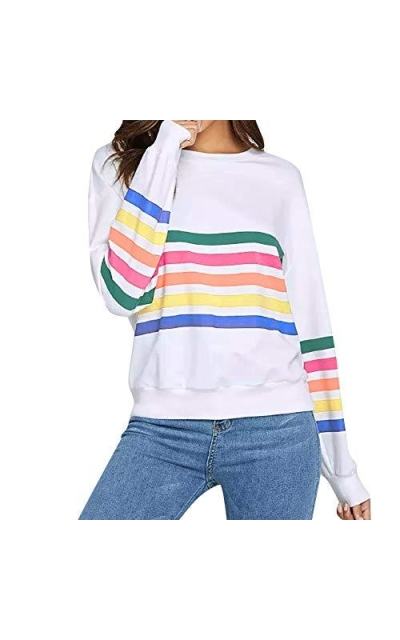 FRCOLT Rainbow Colorful Striped Sweater