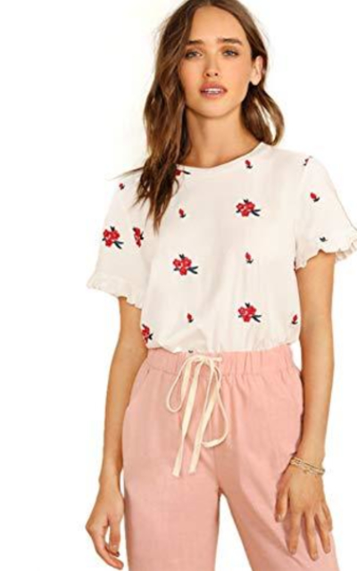 Romwe Floral Short Sleeve Ruffle Top