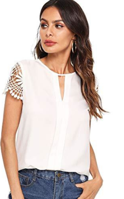 Floerns Short Sleeve Lace Blouse