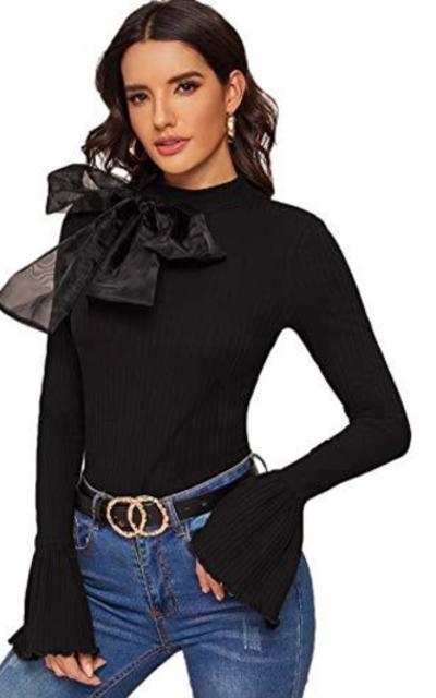 ROMWE Bow Detail Ruffle Knit Top