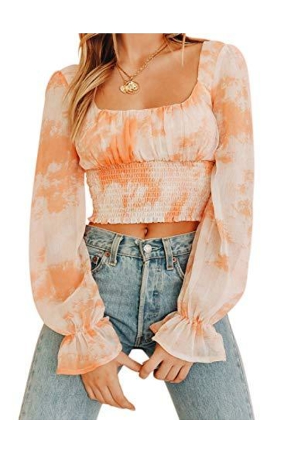 CANIKAT Tie Dye Ruffle Frill Smocked Top