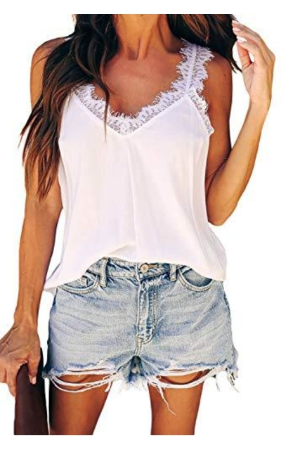 Lace Strappy Cami Tank Top
