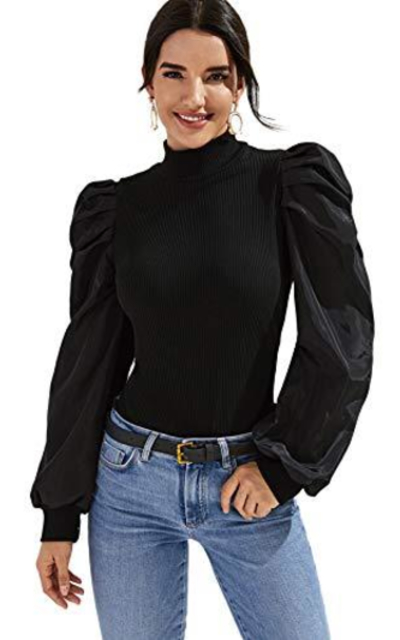 Floerns Puff Sleeve Mock Neck Top