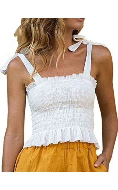 CILKOO Frill Smocked Crop Tank Top