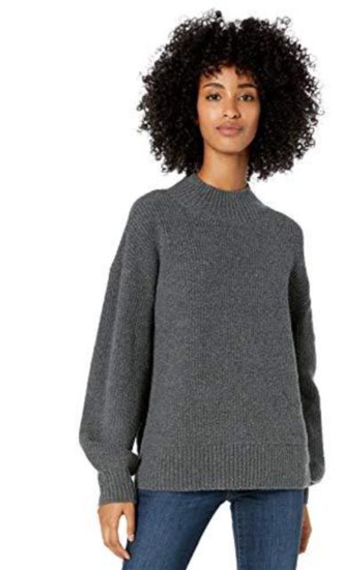 Amazon Brand - Goodthreads Boucle Shaker Stitch Balloon-Sleeve Sweater