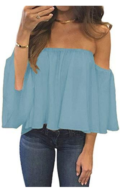 Bluetime Boho Ruffles Off The Shoulder Top