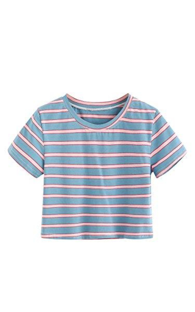 SweatyRocks Striped Crop T-Shirt