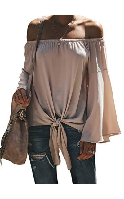 CILKOO Off Shoulder Bell Sleeve Top