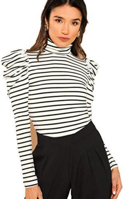 Romwe Puff Sleeve Turtle Neck Striped Top
