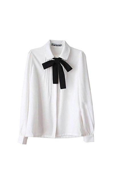ETOSELL Bowknot Chiffon Button Down Shirt