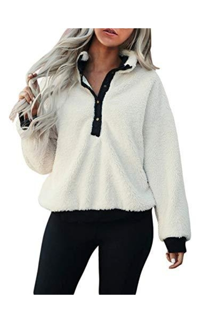 KIRUNDO Half Button Fleece Sweatshirt