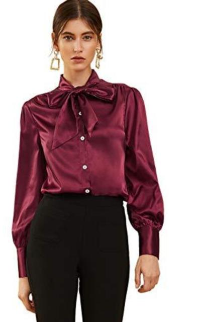 SOLY HUX Bow Tie Neck Satin Silk Shirt