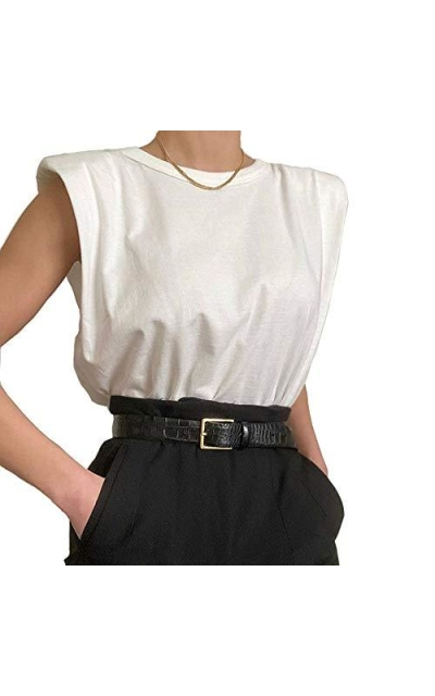 KEALCAFA Shoulder Pad Cotton T-Shirt