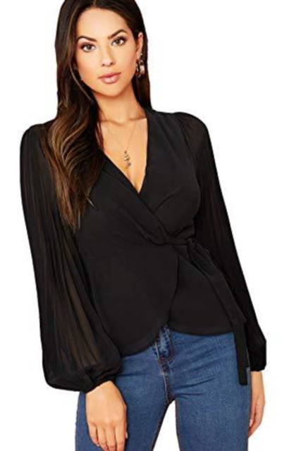 SheIn Pleated Lantern Sleeve Wrap Top