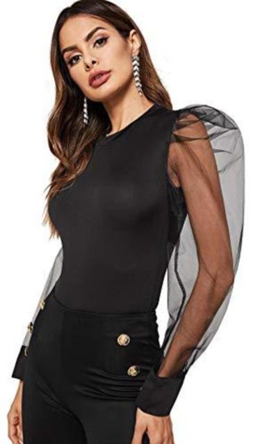 WDIRARA Mesh Long Sleeve Round Neck Bodysuit