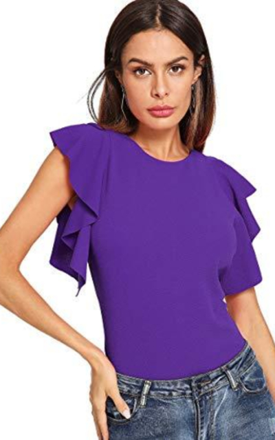 ROMWE Ruffle Sleeve Top