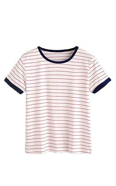 MakeMeChic Striped Short Sleeve T-Shirt