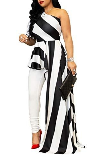 Doris Appare Striped One Shoulder High Low Top