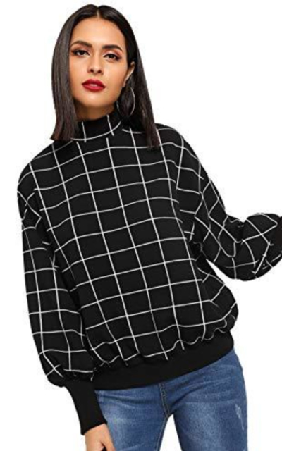 Floerns Mock Neck Plaid Sweatshirt