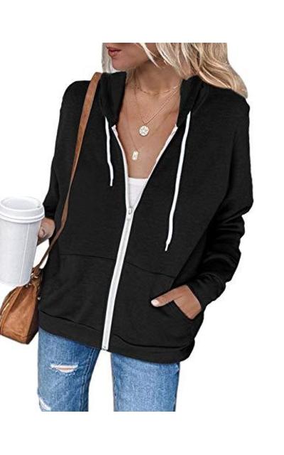 MEROKEETY Zip Up Hoodie Sweatshirt