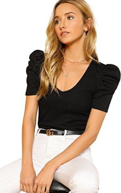 Romwe Short Puff Sleeve Top