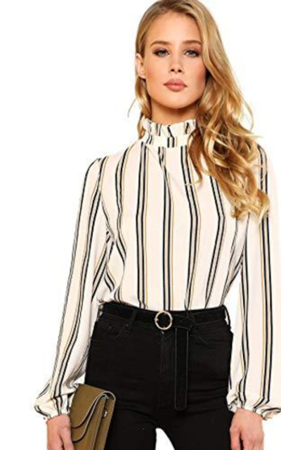 ROMWE Printed Stand Collar Blouse