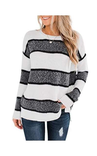YIBOCK Color Block Striped Sweater