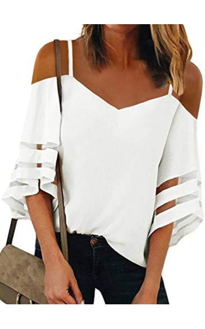 BLENCOT Off Shoulder Sheer Panel Top