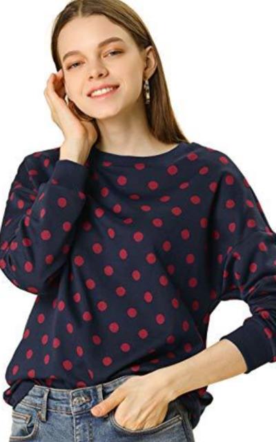 Allegra K Polka Dot Knitted Top