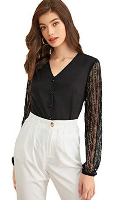 WDIRARA Lace Sleeve Solid Blouse