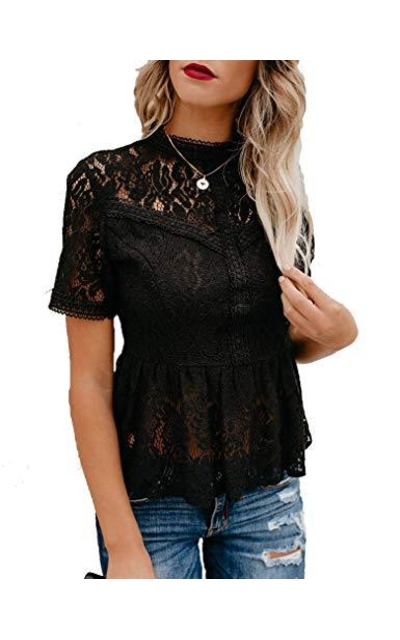Tobrief Short Sleeve Mesh Lace Peplum Top