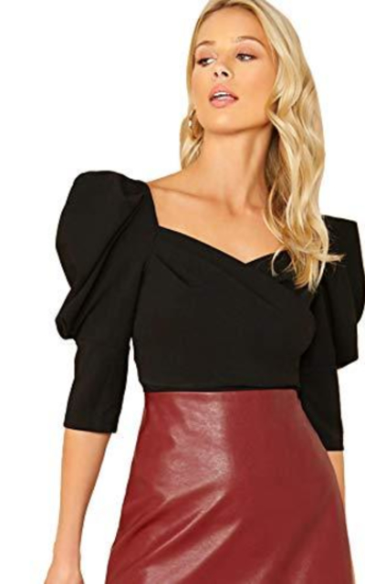 SheIn Sweetheart Neck Puff Top