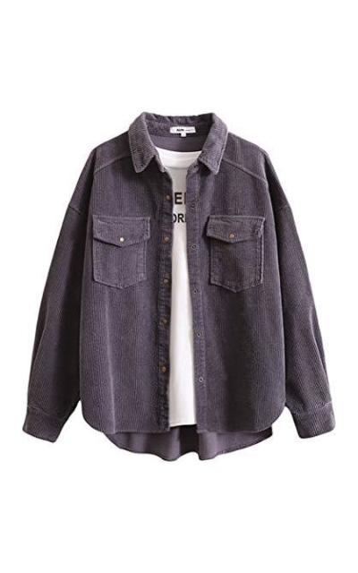 Gihuo Boyfriend Corduroy Button Down Shirt Jacket