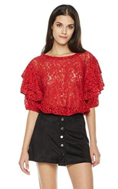 Painted Heart Tiered Lace Blouse