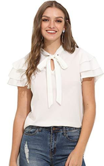 ROMWE Layered Bow Tie Neck Top