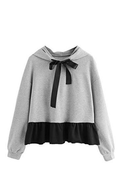 SOLY HUX Ruffle Hem Hoodie Sweatshirt