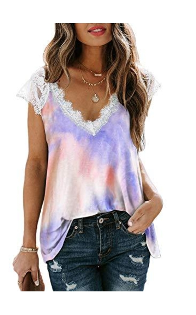 FARYSAYS Tie Dye Lace Top