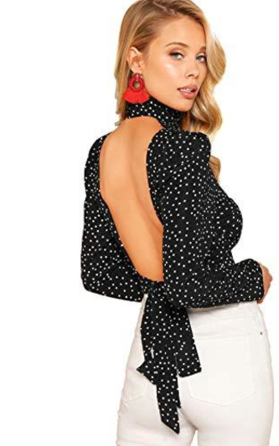 ROMWE Sexy Backless Open Tie Back  Top