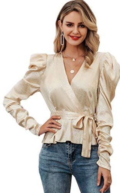 MsLure Puff Sleeve Tie Waist Top