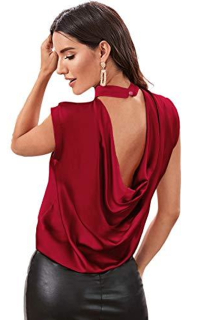 SheIn Draped Backless Camisole Cami Tank Top